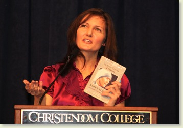 Susan speaking at Christendom College